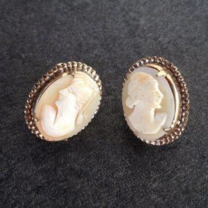 Vintage Gold Victorian Style Cameo Earrings